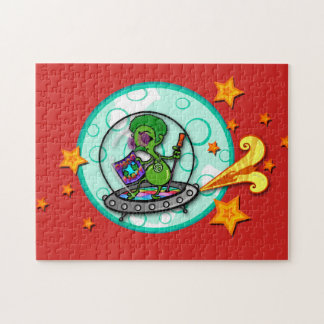 FUNNY DISCO 70'S ALIEN ILLUSTRATION PUZZLE