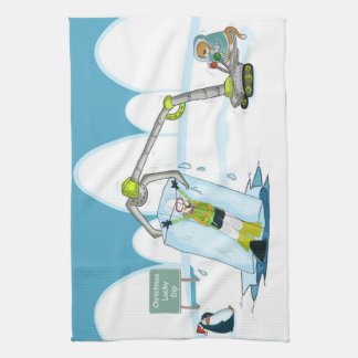 funny diving christmas kitchen towel