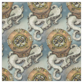 Funny Diving Octopus Under The Sea Fabric