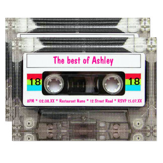 Funny DJ 80s Cassette Tape 18th Birthday Card