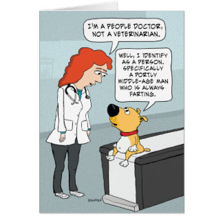 Funny Doctor and Dog Birthday Card