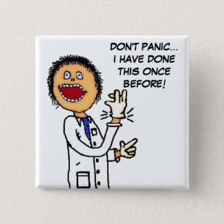 Funny Doctor Cartoon 2 Inch Square Button