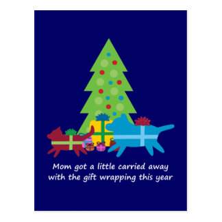 Funny Dog  and Cat Christmas Presents Postcard