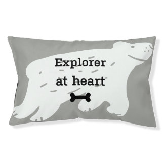 "Funny dog bed ""Explorer at heart"""