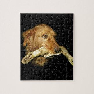 Funny Dog Carrying Horse Teeth Bone Jigsaw Puzzle