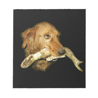 Funny Dog Carrying Horse Teeth Bone Notepad