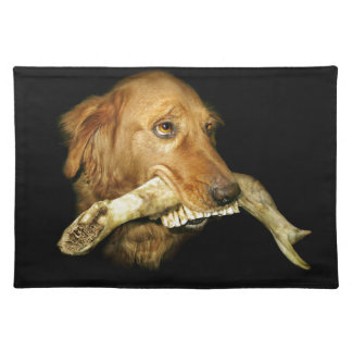 Funny Dog Carrying Horse Teeth Bone Placemat