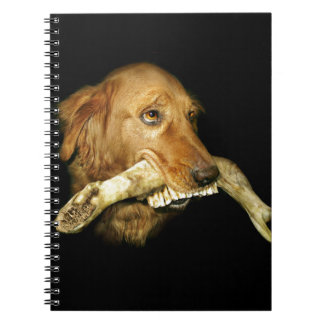 Funny Dog Carrying Horse Teeth Bone Spiral Notebook