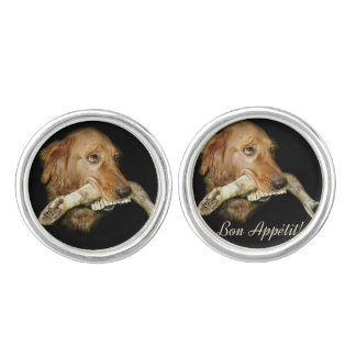 Funny Dog Carrying Horse's Teeth Cufflinks