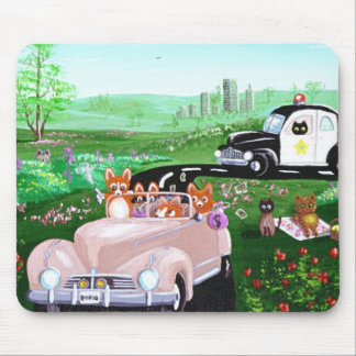 Funny Dog Cat Art Corgi Cop Police Car Creationart Mouse Pad
