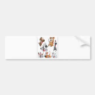 Funny dog characters design bumper sticker