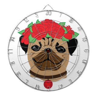 Funny dog. Cute pug with flower wreath Dartboard