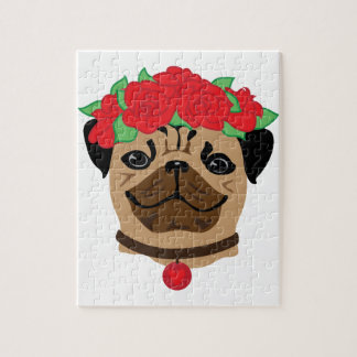 Funny dog. Cute pug with flower wreath Jigsaw Puzzle