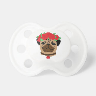 Funny dog. Cute pug with flower wreath Pacifier