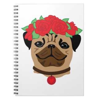 Funny dog. Cute pug with flower wreath Spiral Notebook