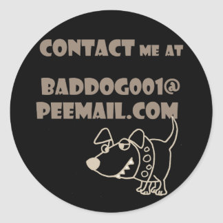 Funny Dog Email Peemail Contact Classic Round Sticker