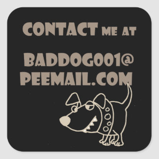 Funny Dog Email Peemail Contact Square Sticker