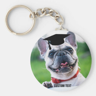 Funny Dog Graduation French BullDog Photo Basic Round Button Keychain