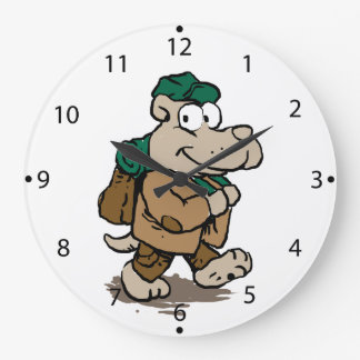 Funny dog hiker large clock
