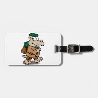 Funny dog hiker luggage tag