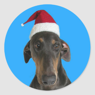Funny dog in Santa hat Christmas stickers