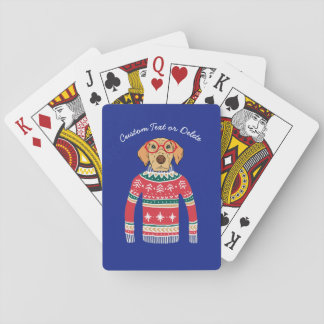 Funny Dog Lover Dog Wearing Ugly Christmas Sweater Playing Cards