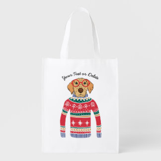 Funny Dog Lover Dog Wearing Ugly Christmas Sweater Reusable Grocery Bag