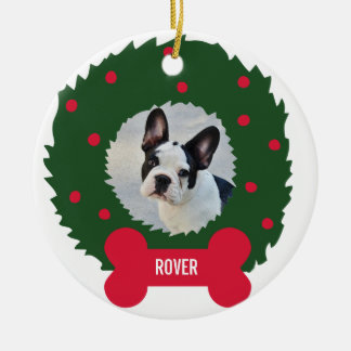 Funny Dog Lover's Christmas Wreath With Dog Photo Ceramic Ornament