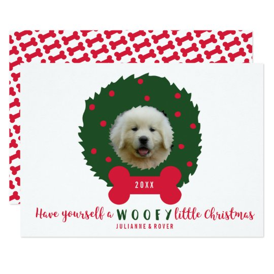 Funny Dog Lover's Christmas Wreath Your Dog Photo Card