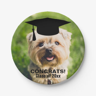Funny Dog Photo Graduation Personalized Class of 7 Inch Paper Plate