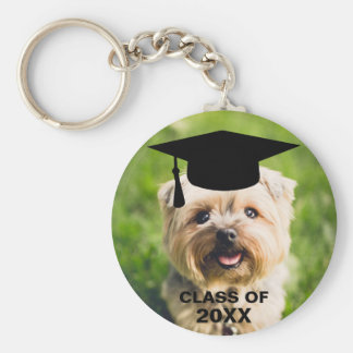 Funny Dog Photo Graduation Personalized Class of Basic Round Button Keychain