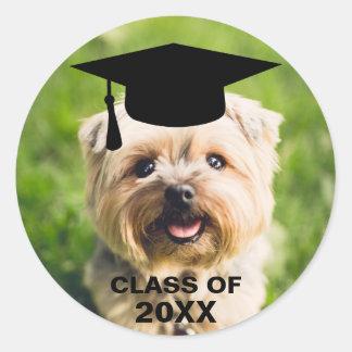 Funny Dog Photo Graduation Personalized Class of Round Sticker