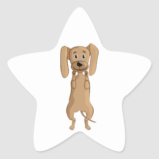 funny dog standing star sticker