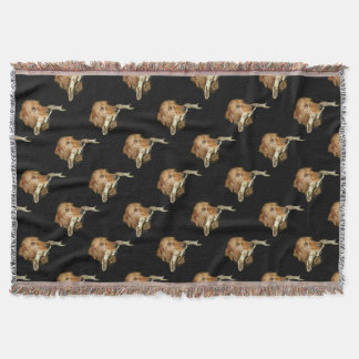Funny Dog with Horse Teeth Bone in Mouth Throw Blanket