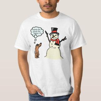 Funny Dog with Snowman Christmas Shirt