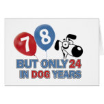 Funny dog years 78 year old designs greeting card