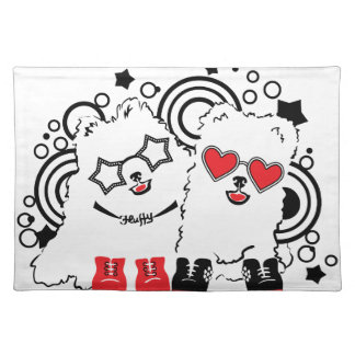 Funny dogs. Cute animal festive cool design Placemat