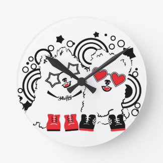 Funny dogs. Cute animal festive cool design Round Clock