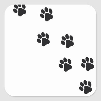 Funny dog's paw  print square sticker