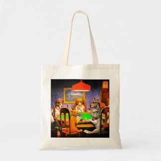 Funny Dogs Playing Poker Tote Bag