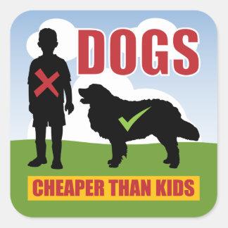 Funny Dogs vs Kids Slogan Square Sticker