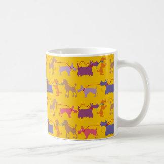 Funny dogs with lead coffee mug
