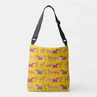 Funny dogs with lead crossbody bag