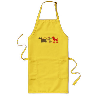 Funny dogs with lead long apron