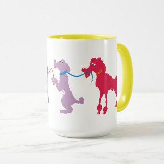Funny dogs with lead mug