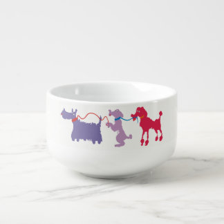 Funny dogs with lead. soup bowl with handle