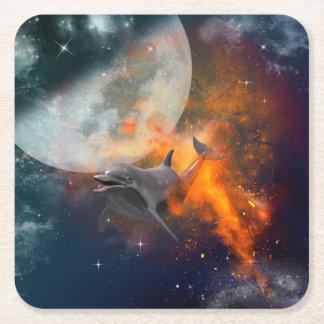 Funny dolphin in the universe square paper coaster