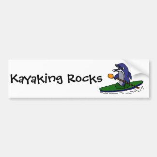 Funny Dolphin Kayaking Bumper Sticker