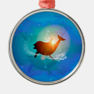 Funny dolphin on blue background with clouds, Silver-Colored round ornament