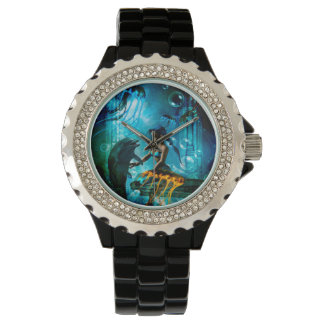 Funny dolphin playing with cute mermaid watch